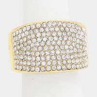 Crystal rhinestone pave stretch ring