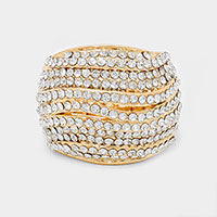 Crystal pave metal stretch ring
