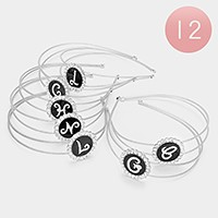 12 PCS - Assorted Initial Monogram Headbands