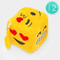 12PCS - EMOJI PLUSH DICE CUBE KEY RING