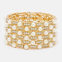 Crystal & pearl embellished stretch bracelet