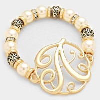 'A' MONOGRAM CHARM PEARL & FILIGREE STRETCH BRACELET