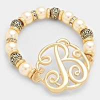 'B' MONOGRAM CHARM PEARL & FILIGREE STRETCH BRACELET