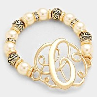 'C' MONOGRAM CHARM PEARL & FILIGREE STRETCH BRACELET