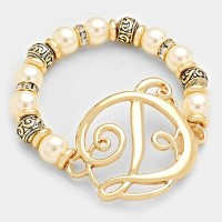 'D' MONOGRAM CHARM PEARL & FILIGREE STRETCH BRACELET
