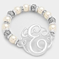 'E' MONOGRAM CHARM PEARL & FILIGREE STRETCH BRACELET