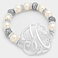 'H' MONOGRAM CHARM PEARL & FILIGREE STRETCH BRACELET