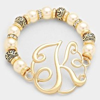 'K' MONOGRAM CHARM PEARL & FILIGREE STRETCH BRACELET