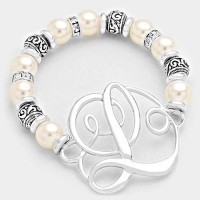 'L' MONOGRAM CHARM PEARL & FILIGREE STRETCH BRACELET