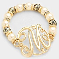 'M' MONOGRAM CHARM PEARL & FILIGREE STRETCH BRACELET