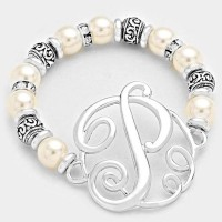 'P' PEARL & FILIGREE METAL BEADED Monogram BRACELET