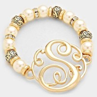 'S' PEARL & FILIGREE METAL BEADED Monogram BRACELET