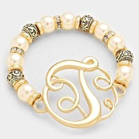 'T' PEARL & FILIGREE METAL BEADED Monogram BRACELET