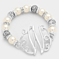 'W' PEARL & FILIGREE METAL BEADED Monogram BRACELET