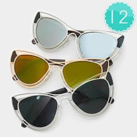 12 Pairs - double deck metal frame cat eye sunglasses