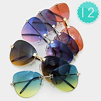12 Pairs - ombre aviator sunglasses