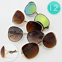 12 Pairs -  metal jaguar accented oversized sunglasses