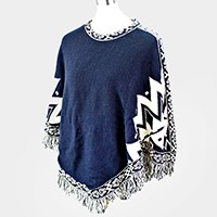 Bohemian Chevron Fringe Edge Poncho Sweater