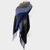 Striped geometric pattern fringe blanket scarf