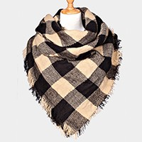 plaid frayed edge blanket scarf