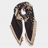 Polka dot frayed edge border scarf