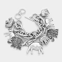 Aztec elephant multi-charm toggle bracelet