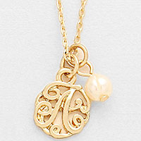 'A' monogram pendant necklace with pearl charm