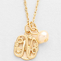 'N' monogram pendant necklace with pearl charm
