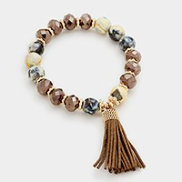 Semi precious stone beaded stretch bracelet with tassel charm