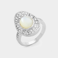 Crystal trim mother of pearl ring