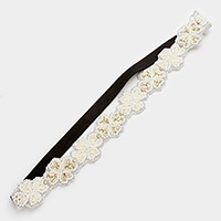 Beaded clover stretch headband