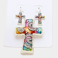 Crystal & epoxy cross pendant set