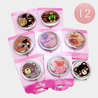 12 PCS - cute bear compact mirrors