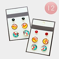 12 Sets - Christmas snowman stud earrings