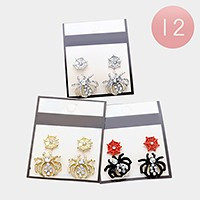 12 Sets - Halloween spider stud earrings
