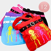 12 PCS - glitter skeleton print zip canvas shopper bags