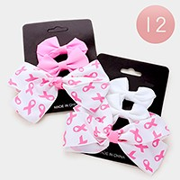 12 Sets - pink ribbon bow hair pinch clips
