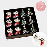 12 PCS - crystal Christmas tree & sock rings