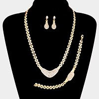 3-PCS Crystal rhinestone pave plate metal necklace jewelry set