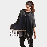 Tassel V-neck poncho sweater