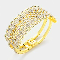 Hinged crystal rhinestone evening bracelet