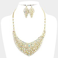 Crystal rhinestone bubble evening necklace