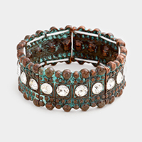 Stone Trim Metal Bubble Detail Stretch Bracelet