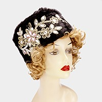 Crystal flower embellished cossack hat