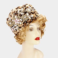 Crystal flower embellished leopard pattern cossack hat