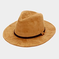 Braided faux suede band fedora hat