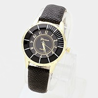 Faux leather band watch