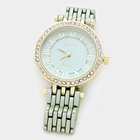 Crystal trim dial two tone metal watch