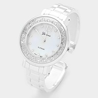 Crystal filled dial metal cuff watch