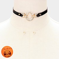 Crystal embellished faux leather choker necklace